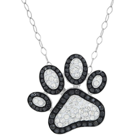 Swarovski Element Sterling Silver Black and White Paw Print Pendant, 18