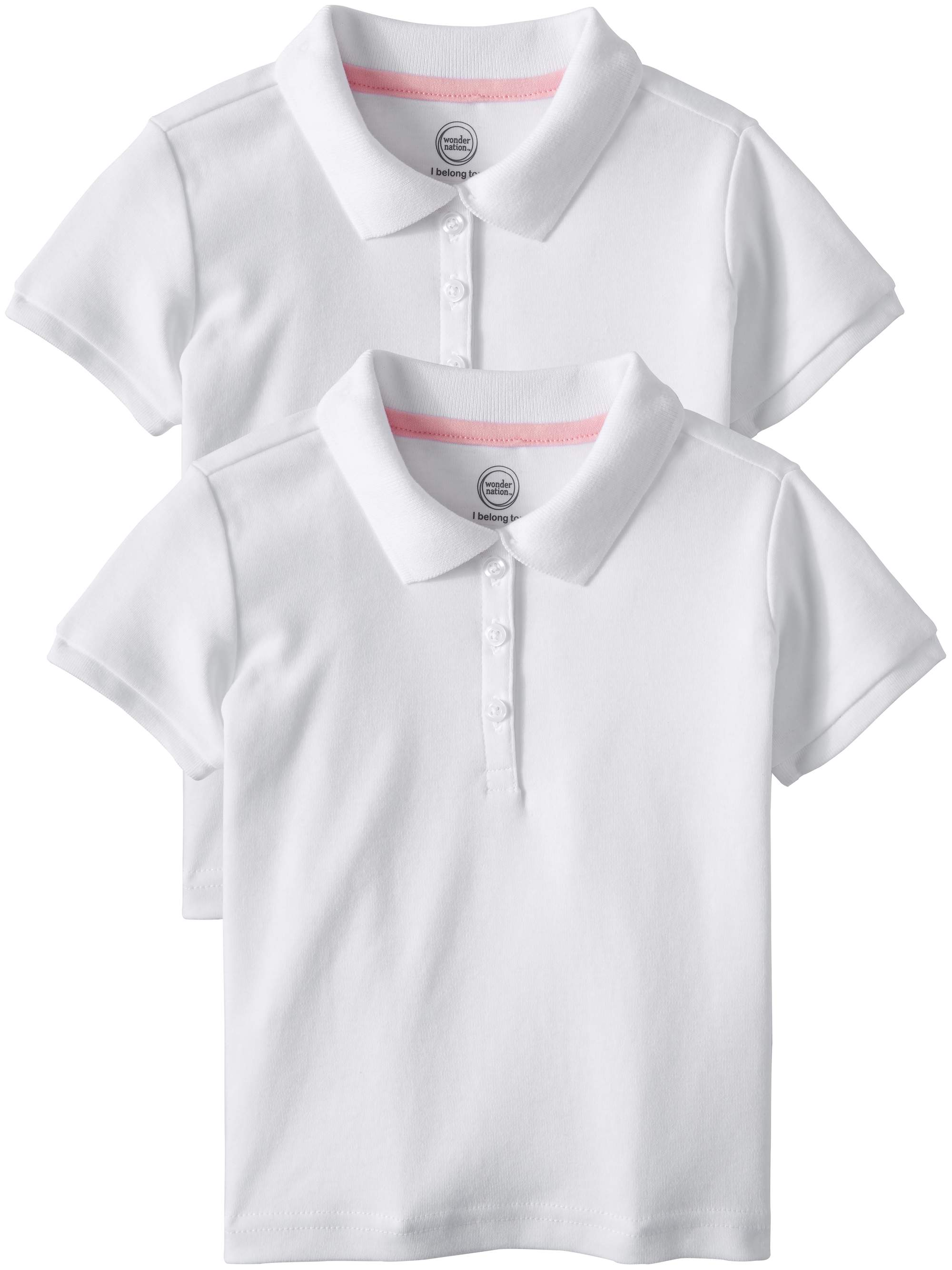 Toddler Girls School Uniform Short Sleeve Interlock Polo, 2-Pack Value Bundle