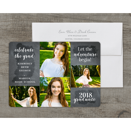 Personalized Graduation Invitation - Adventure - 5 x 7 Flat Deluxe