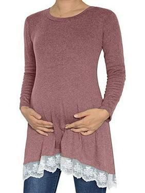 Jchiup Women Maternity Lace Hem Long Sleeve Top Blouse Promotion
