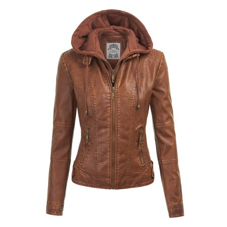Via Spiga Leather Coat - MBJ WJC1044 Womens Faux Leather Quilted Motorcycle Jacket with Hoodie S CAMEL