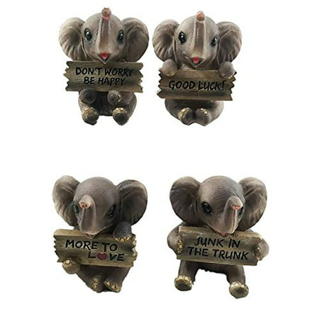 Lucky Trunks Baby Elephants Set of Four Figurine Holding Signs With Funny Sayings Safari Wildlife Lovers - Funny Halloween Wishes Sayings