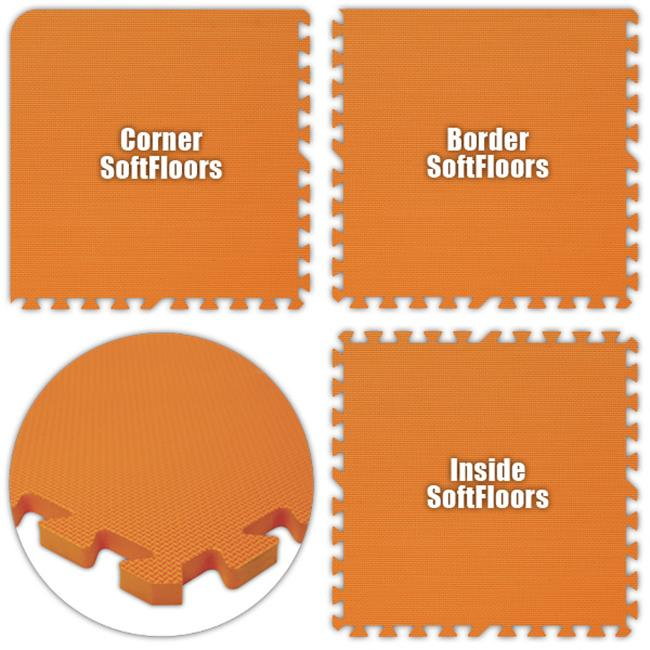 Alessco SFOE1620 SoftFloors -Orange -16  x 20  Set - Pack of 8