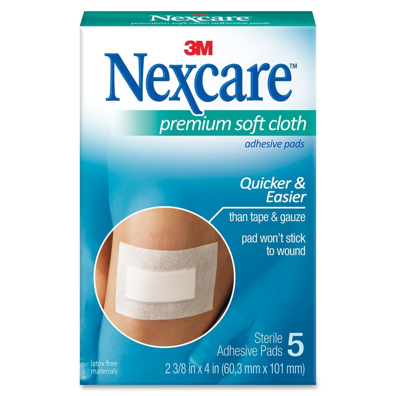 Nexcare Premium Soft Cloth Adhesive Pad, 2-3/8 in x 4 in, 5 Ct