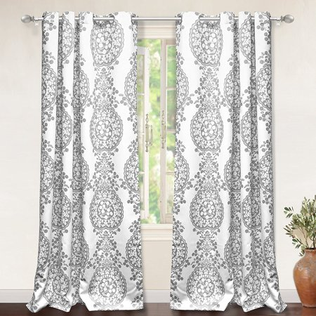 "DriftAway Samantha Thermal/Room Darkening Grommet Unlined Window Curtains,Damask Medallion Pattern Set of Two Panels, each 52""x84"" - Side Cover Grommet"