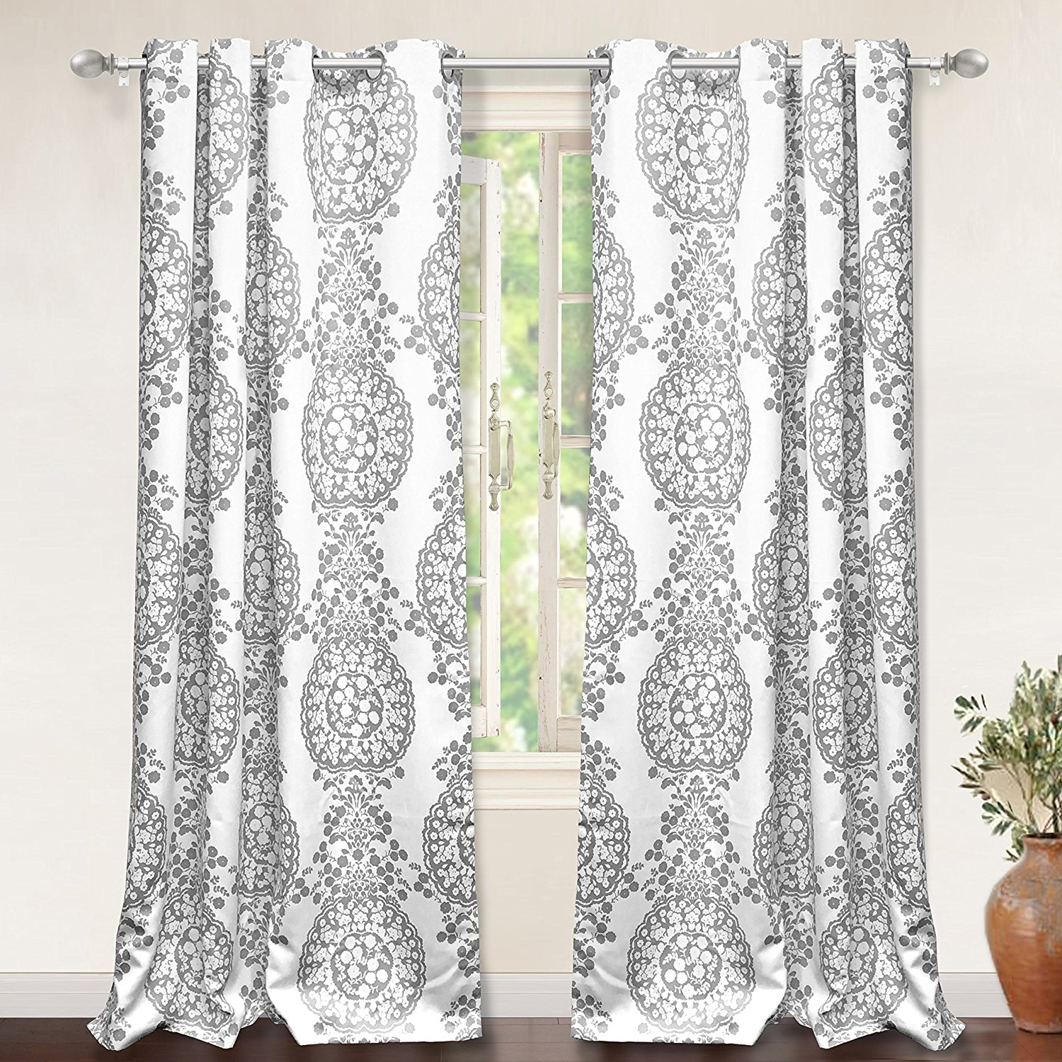 "DriftAway Samantha Thermal/Room Darkening Grommet Unlined Window Curtains,Damask Medallion Pattern Set of Two Panels, each 52""x84"" (Gray)"