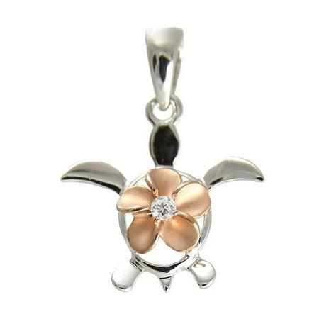 Hawaiian Jewelry - 14K Solid white gold honu turtle pink rose gold plumeria flower Hawaiian pendant