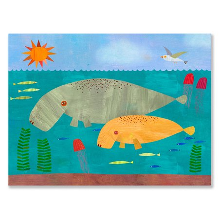 Oopsy Daisy - Canvas Wall Art Manatees Mama And Baby 24x18 By Melanie Mikecz Baby Daisys Walk