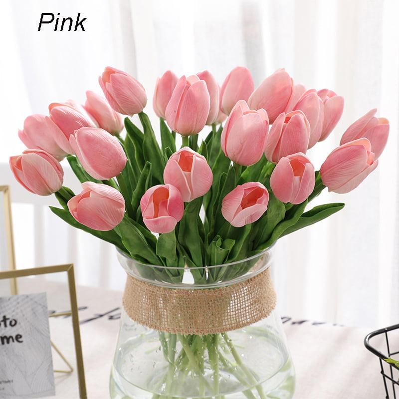 Bouquet Artificial Tulip Silk Flower Leaf Home Room Wedding Party Scene Decor