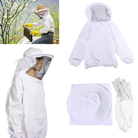 Protective Suit - Protective Bee Keeping Jacket Veil Suit +1 Pair Beekeeping Long Sleeve Gloves US