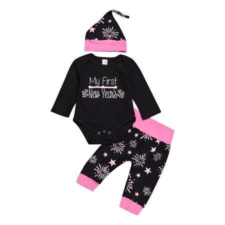 DYMADE Newborn Baby Girl Boy Christmas New Year 3pcs Outfits Clothes Romper+Pants+Hat