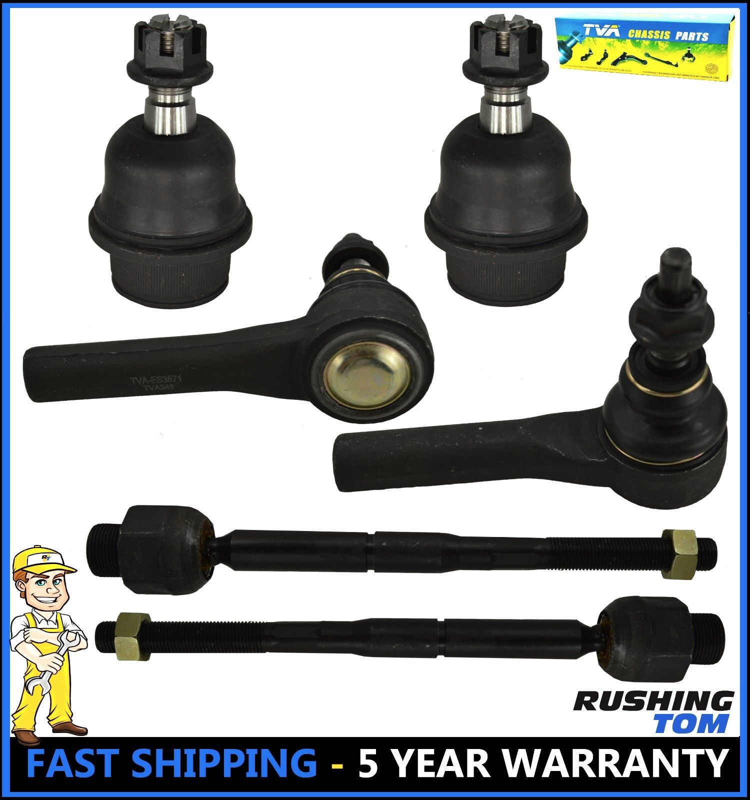 6 Pc Kit Front Inner and Outer Tie Rod End Lower Ball Joint Dodge Dakota 05-10