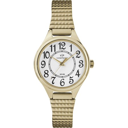 Women's 30mm White Dial Watch, Gold-Tone Expansion Band
