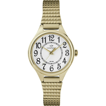 Viewpoint by Timex Women's 30mm Gold-Tone/White Expansion Band Watch
