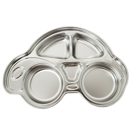 Baby Snack Tray - The Elixir Eco Green STS 304 Stainless Steel Sectioned Dinner Plate Divided Dinner Snack Plate Kids Baby Plate Diet Plate Diet Food Control Tray, Car Shaped