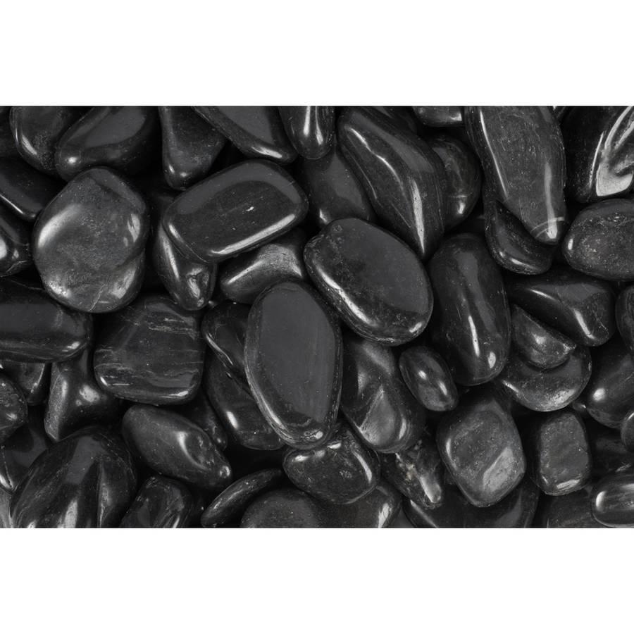 "Margo 20 lb Black Super Polished Pebbles, 1"" to 2"""