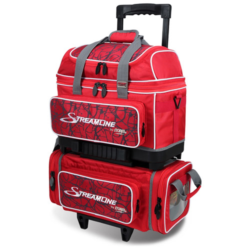 Storm Streamline 4 Ball Roller Bowling Bag- Red Crackle/Red