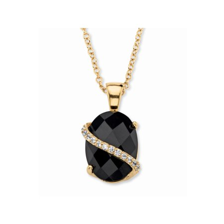 - .20 TCW Oval Checkerboard-Cut Genuine Black Onyx and Pave CZ Accent Pendant Necklace 14k Gold-Plated 18
