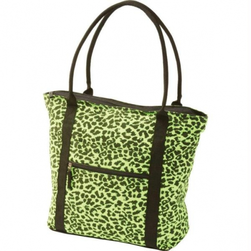 Extreme Pak Neon Green Leopard Print Shopping Tote