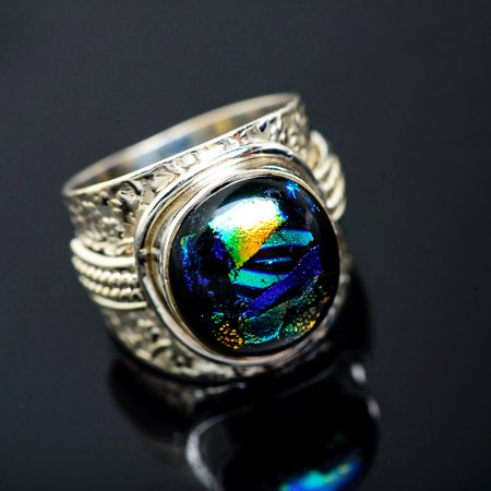 Dichroic Glass Ring Size 7.5 (925 Sterling Silver)  - Handmade Boho Vintage Jewelry RING951136 - Handmade Dichroic Glass