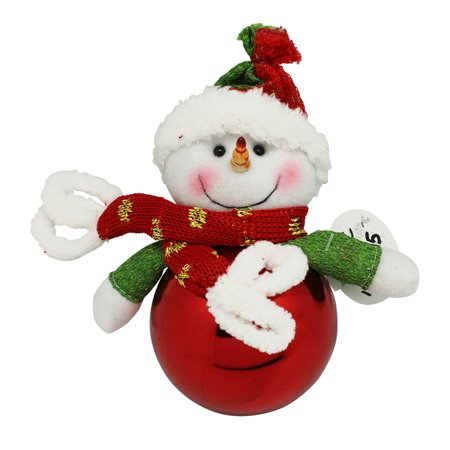 red seasons greetings knit snowman christmas tree ball ornament