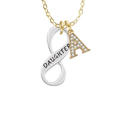Daughter Infinity Sign - A - Gold Tone Crystal Initial Sophia Necklace, 18