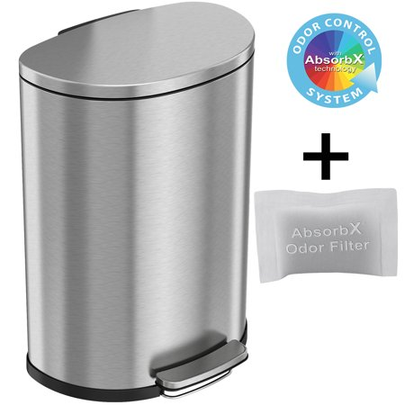 iTouchless SoftStep 13.2 Gallon Semi-Round Stainless Steel Step Trash Can with Odor Control System, 50 Liter Pedal Garbage Bin for Kitchen, Office, Home - Silent and Gentle Open and Close Open Kitchen System