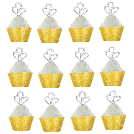 12pk Double Heart Wedding Bridal Shower Cupcake Toppers w Gold Glitter Wrappers