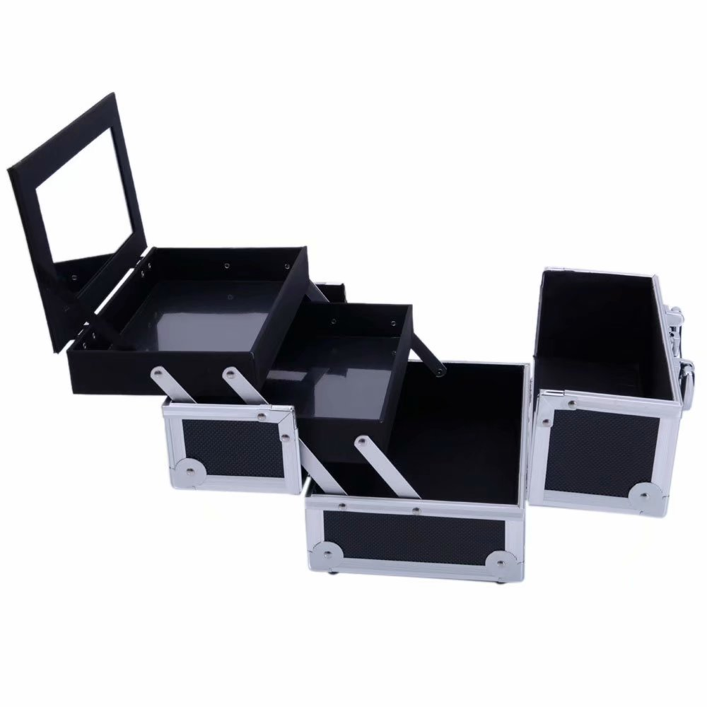 Noroomaknet Makeup Cases and Organizers,Portable Train Makeup Case with Lock Black