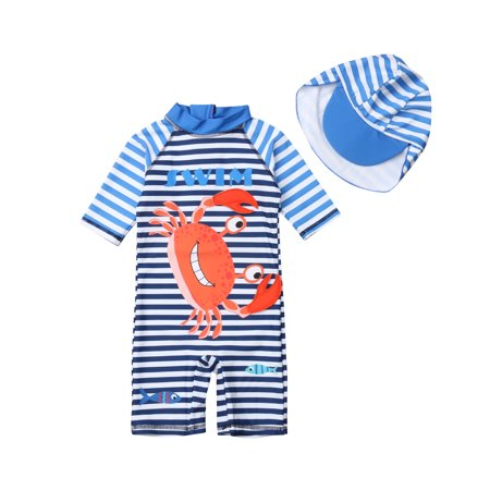 Kids Toddler Baby Boy 3D Dinosaur Crab Swimsuit Romper Sunsuits Bathing Suit Beach Wear + Hat