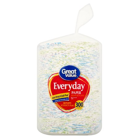 Great Value Everyday Paper Plates, 8 5/8u0022, 300 Count