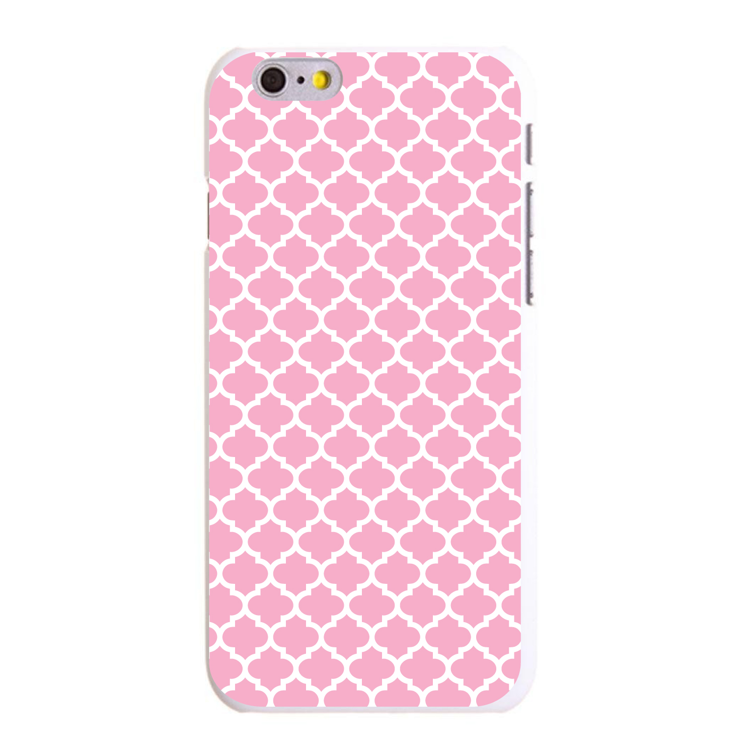 """CUSTOM White Hard Plastic Snap-On Case for Apple iPhone 6 / 6S (4.7"""" Screen) - Pink White Moroccan Lattice"""