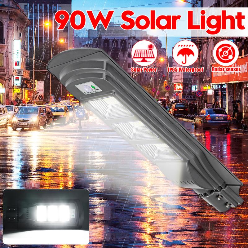 90W 6000K LED Solar Street Light Motion Radar Sensor Wall Timing Security Outdoor Lamp High Brightness... by