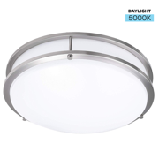 DARELO Dimmable 12 Inch LED Ceiling Light – Elegant Minimalist Flush Mount Ceiling Lighting Fixture with 5000K Color Temperature – Round Nickel Finish Ceiling Lamp Replacement – 15W & 1100 Lumens