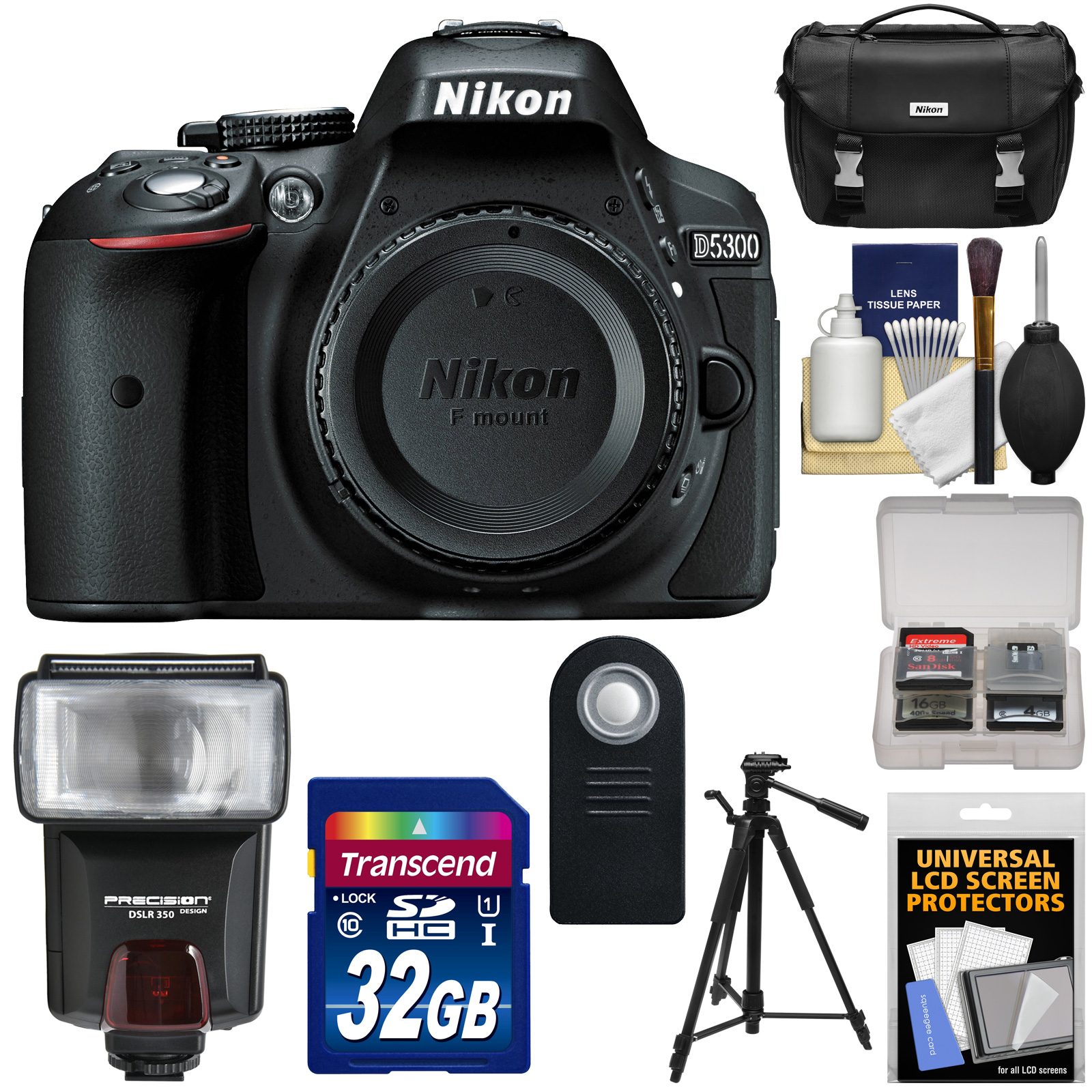 Nikon D5300 Digital SLR Camera Body (Black) - Factory Refurbished with 32GB Card + Case + Flash + Tripod + Remote + Kit