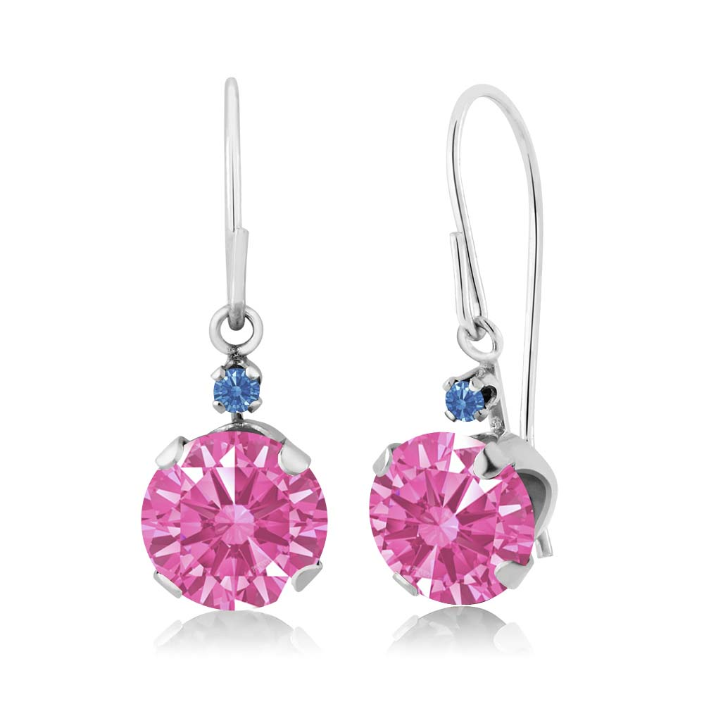 1.71 Ct Pink 14k White Gold Earrings Made With Swarovski Zirconia
