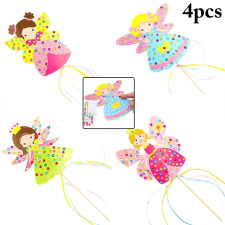 4Pcs Kids Craft Toy Princess Wand DIY Rhinestone Magic Fairy Wand Costume Wand Creative Educational Toys Birthday Gift for Girls Kids Child Children Baby](Creative Gifts For Kids)