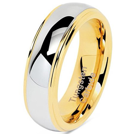 - 6mm Tungsten Rings For Men Women Wedding Band Two Tones Gold Silver Engagement Size 5-13 With Half Sizes Available
