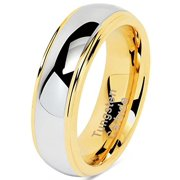 6mm Tungsten Rings For Men Women Wedding Band Two Tones Gold Silver Engagement Size 5-13 With Half Sizes Available