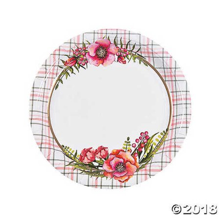 Floral Plaid Bridal Shower Paper Dinner Plate ()