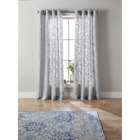 Better Homes & Gardens Slub Sheer Single Window Curtain Panel ()