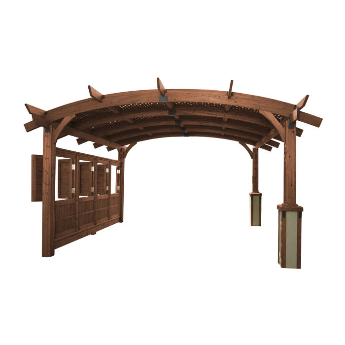 16' x 16' Sonoma Arched Wood Pergola Structure in Mocha Finish by The Outdoor GreatRoom Co