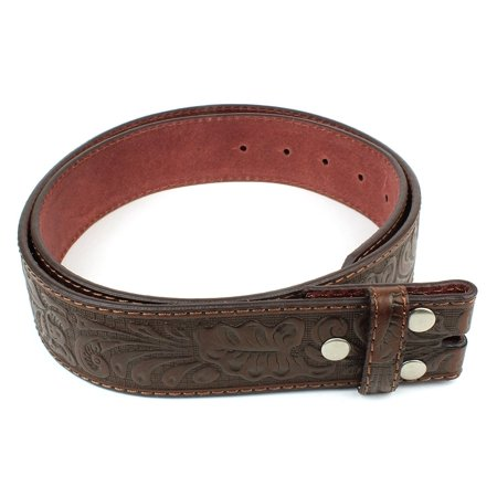 Embossed Genuine Leather Snap (Leather Belt Strap with Embossed Western Scrollwork 1.5