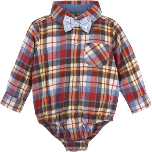 G - Cutee Newborn Baby Boy Flannel Plaid Bodysuit w /  Bowtie