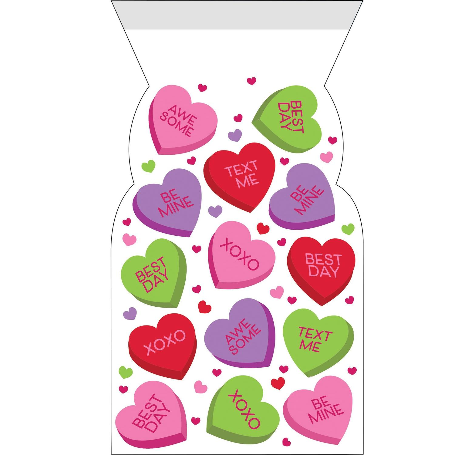 Club of 144 Red and Green Valentines Decor Printed Cello Bag with Zipper 13""