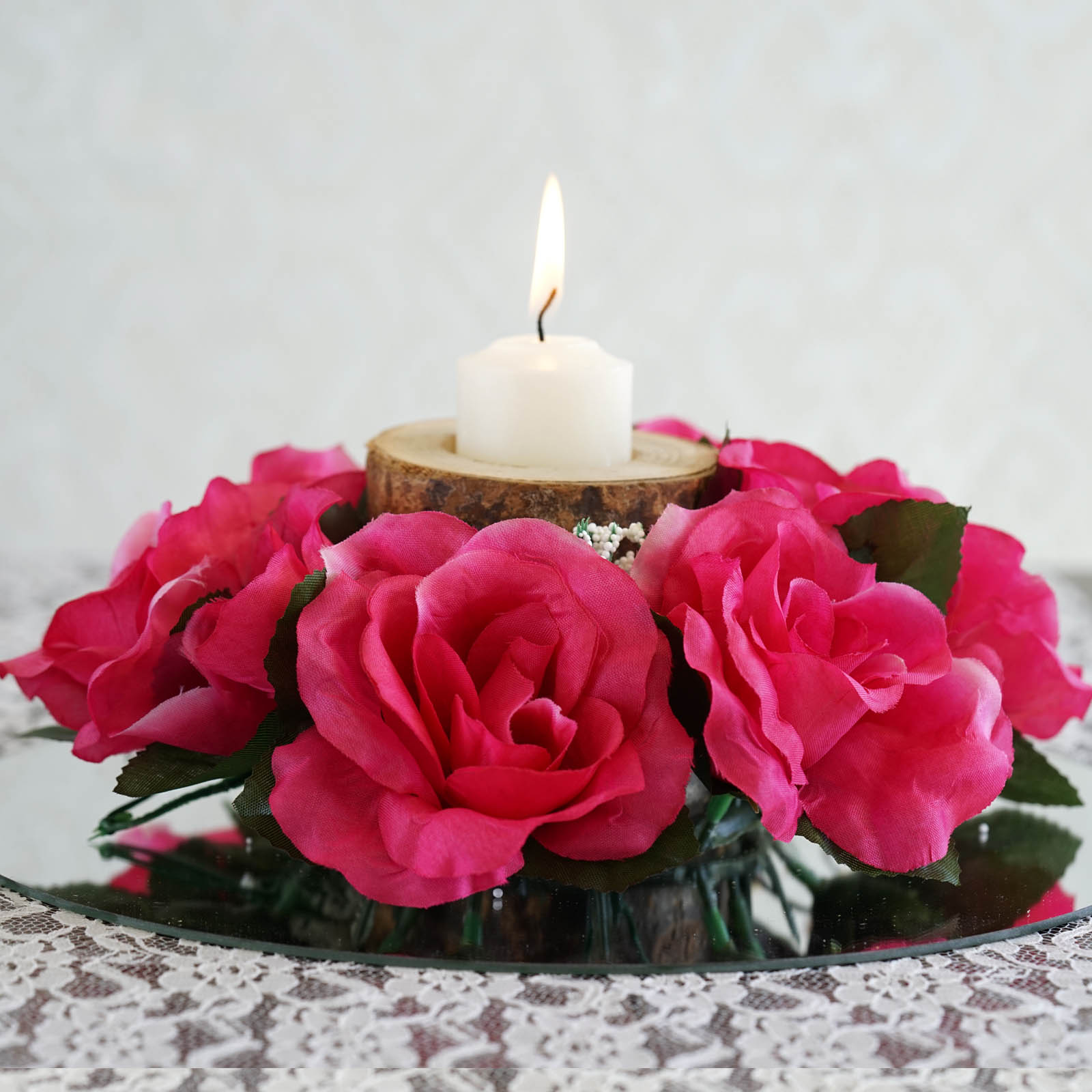 BalsaCircle 8 Silk Roses Flowers Candle Rings - DIY Home Wedding Party Artificial Bouquets Arrangements Centerpieces