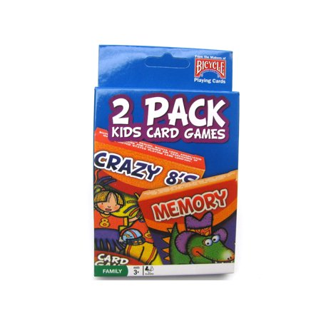 Bicycle Kids Games 2 Pack Playing Cards - Blue Pack with Crazy 8's and Memory #1023757