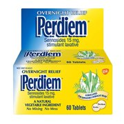 Pills Overnight Relief 60 Each ( Pack of 2), Sennosides, Stimulant Laxative*. By Perdiem