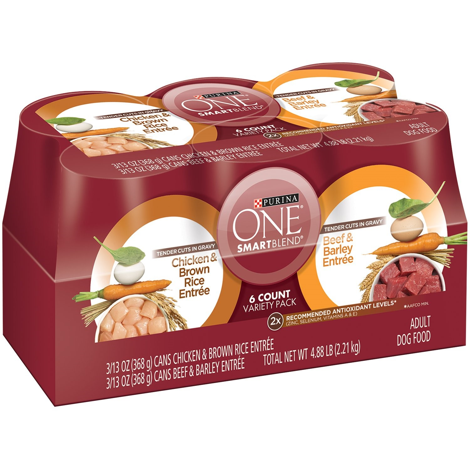 Purina ONE SmartBlend Tender Cuts Adult Dog Food Variety Pack 6-13 oz. Cans