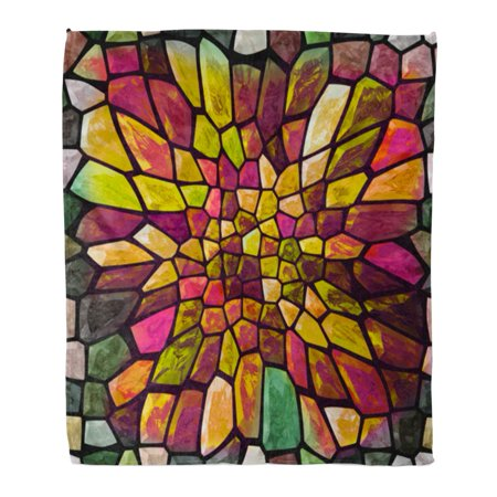 HATIART 58x80 inch Super Soft Throw Blanket Colorful Abstract Mosaic Color with Big Gap Bending Block Ceramic Colored Home Decorative Flannel Velvet Plush Blanket - image 1 of 1